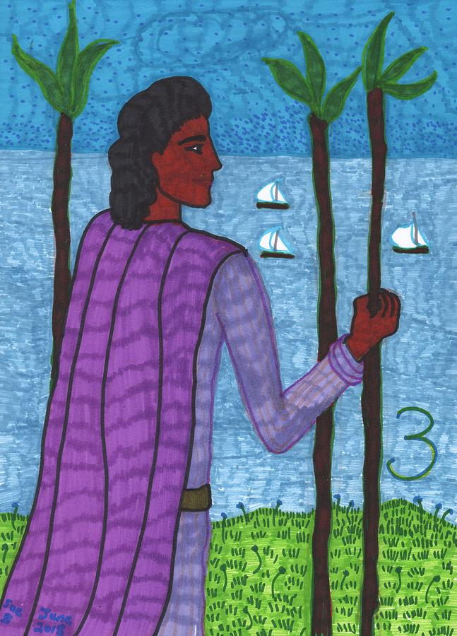 Tarot Drawing - Tarot of the Younger Self Three of Wands by Sushila Burgess