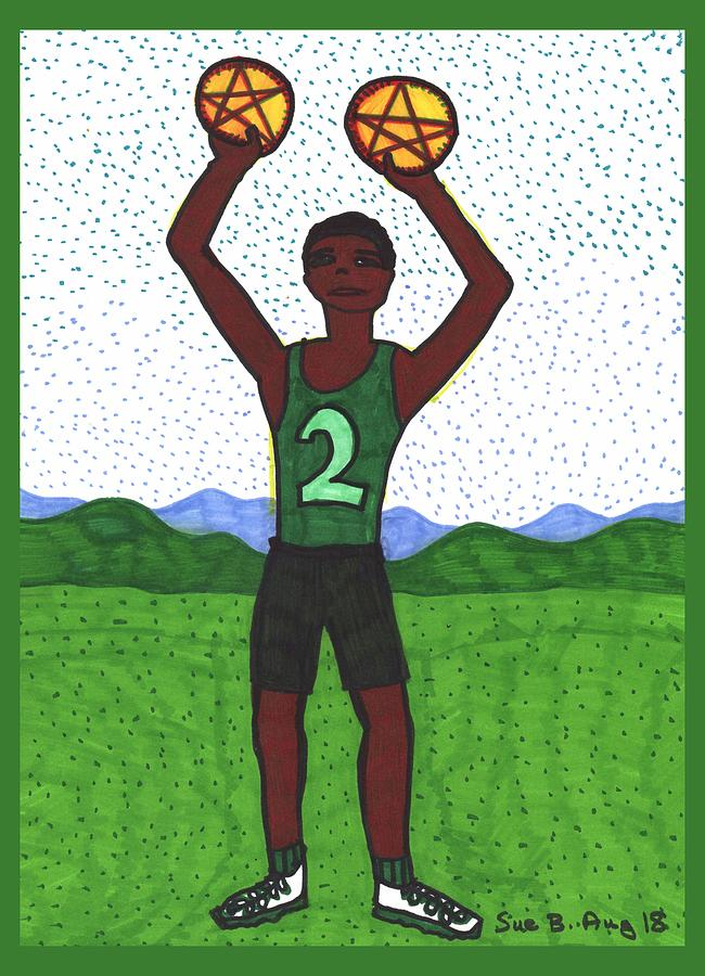 Tarot Drawing - Tarot Of The Younger Self Two Of Pentacles by Sushila Burgess
