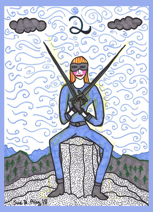 Tarot Drawing - Tarot of the Younger Self Two of Swords by Sushila Burgess
