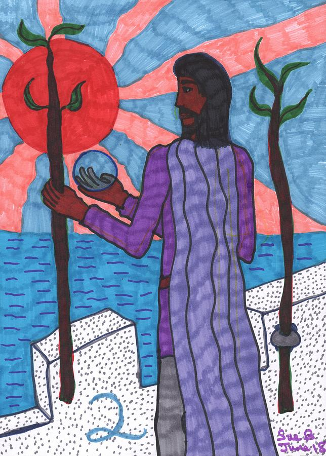 Tarot Drawing - Tarot of the Younger Self Two of Wands by Sushila Burgess