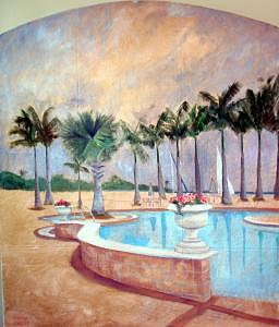 Gardens Painting - Tarpon Landings Triptych - Left by Jeanine Jackson