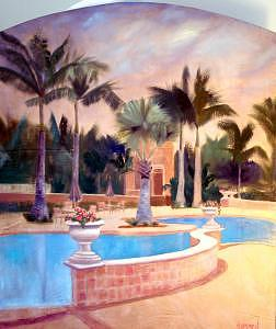 Palm Trees Painting - Tarpon Landings Triptych - Right by Jeanine Jackson