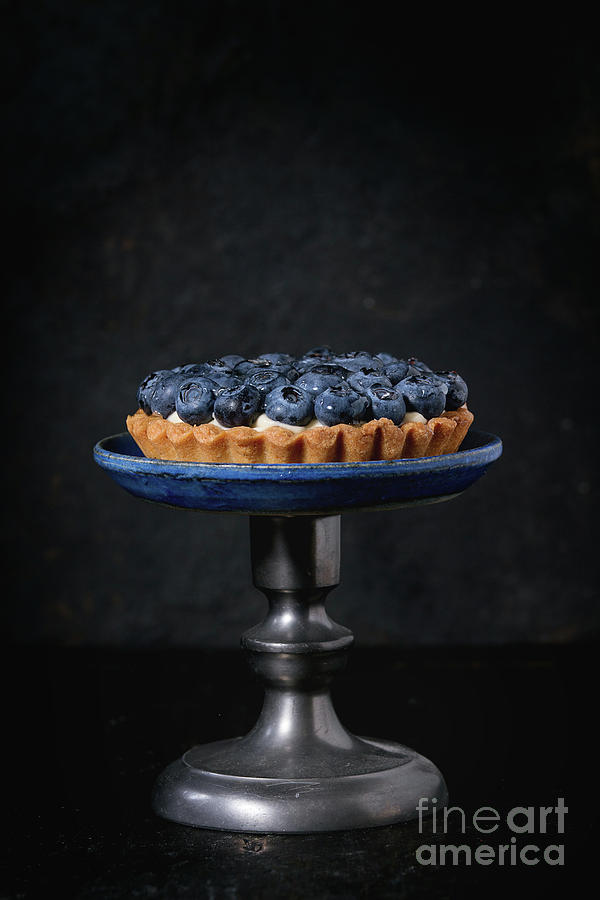Black Pyrography - Tartlet With Blueberries by Natasha Breen