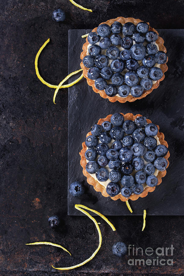 Black Pyrography - Tartlets With Blueberries by Natasha Breen