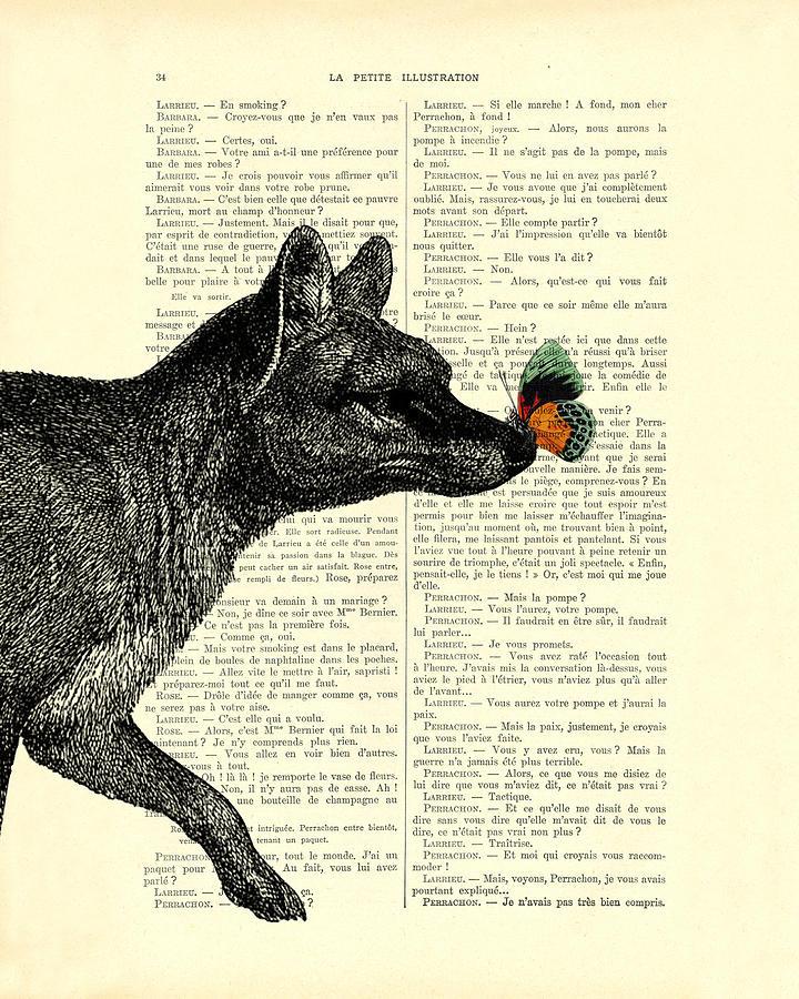 Tasmanian Tiger Digital Art - Tasmanian Tiger And Orange Butterfly Antique Illustration On Dictionary Page by Madame Memento