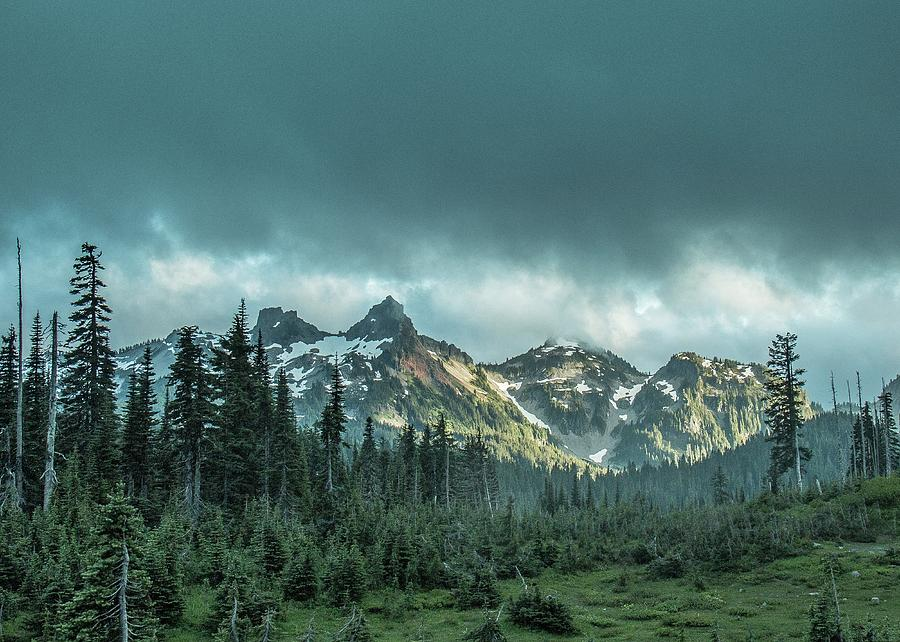 Tatoosh with Storm Clouds by E Faithe Lester