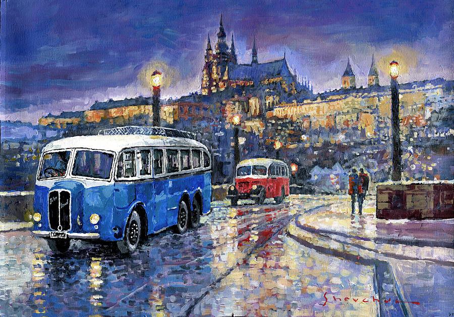 Acrilic Painting - Tatra 85-91bus 1938 Praha Rnd Bus 1950 Prague Manesuv Bridge by Yuriy Shevchuk