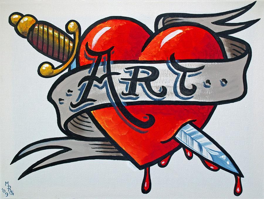 Tattoo Painting - Tattoo Style Art by Martin Girolami