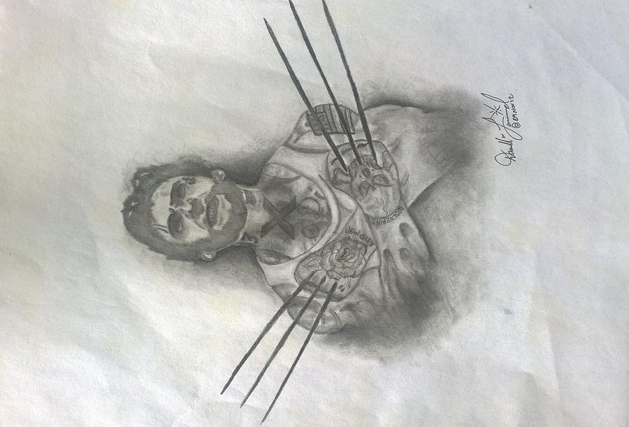 Tattooed Wolverine Drawing by Darrell Lormand