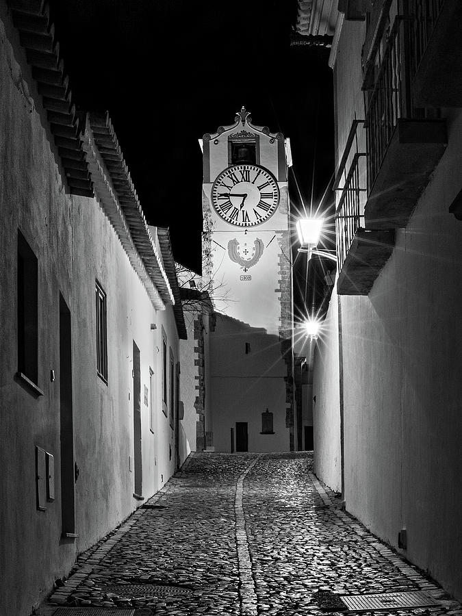 Church Photograph - Tavira Church Bell Tower at Night - Portugal by Barry O Carroll