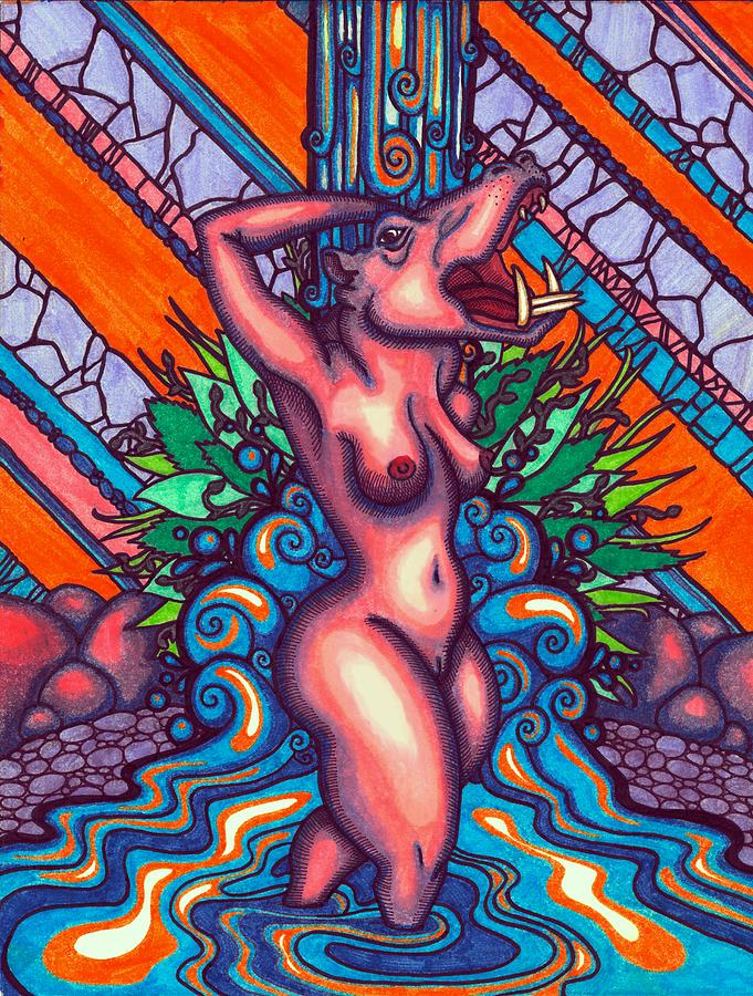 Psychedelic Drawing - Taweret by Pavia Justinian