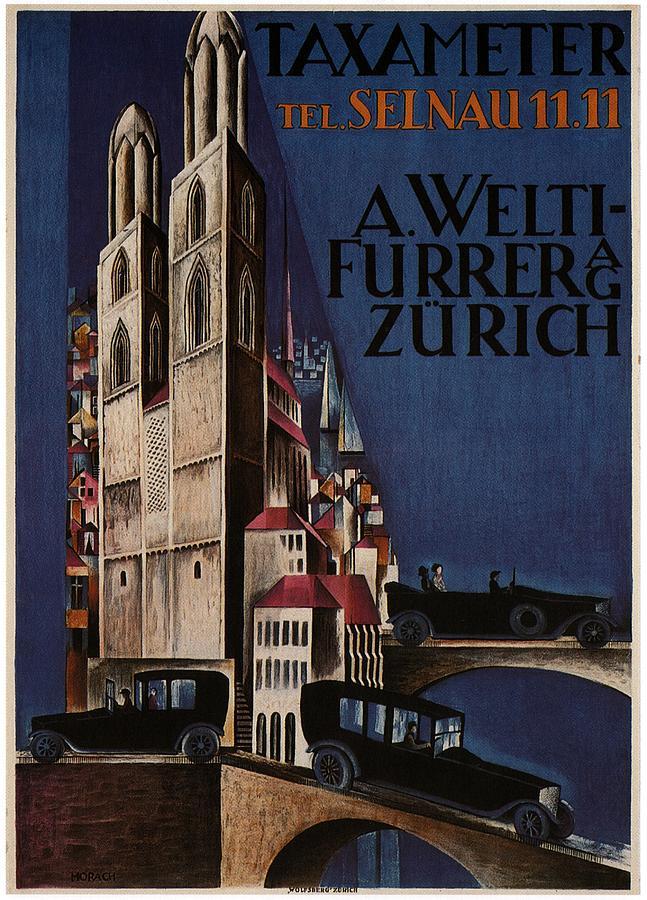 Taxameter - Zurich Taxi Car - Vintage Taxi Car Advertising Poster Mixed Media