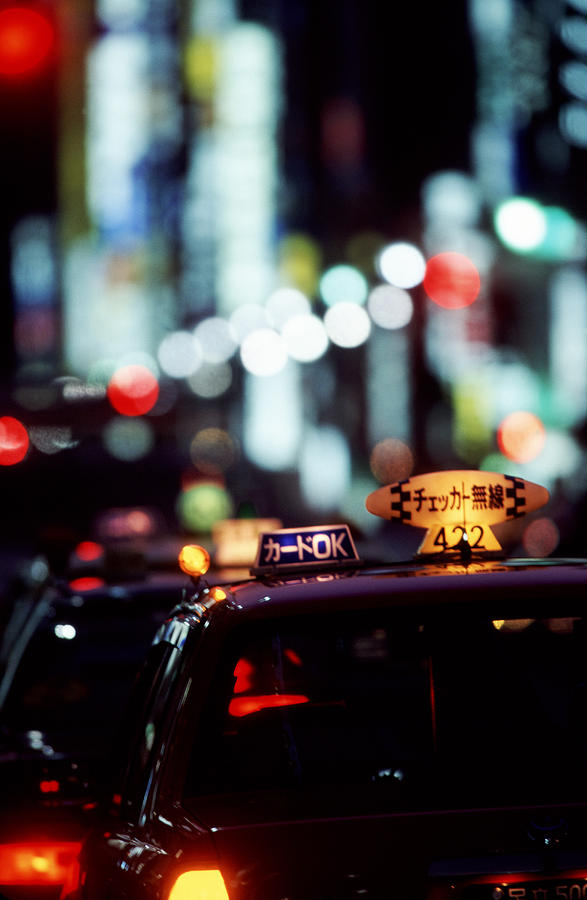 Taxi Photograph - Taxis On The Ginza by Brad Rickerby