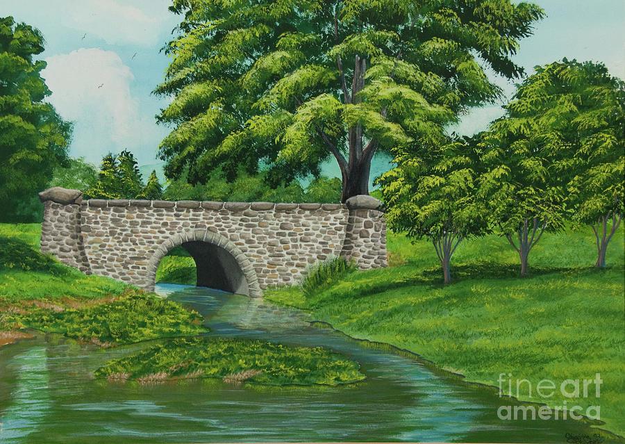 Bridge Painting - Taylor Lake Stone Bridge by Charlotte Blanchard