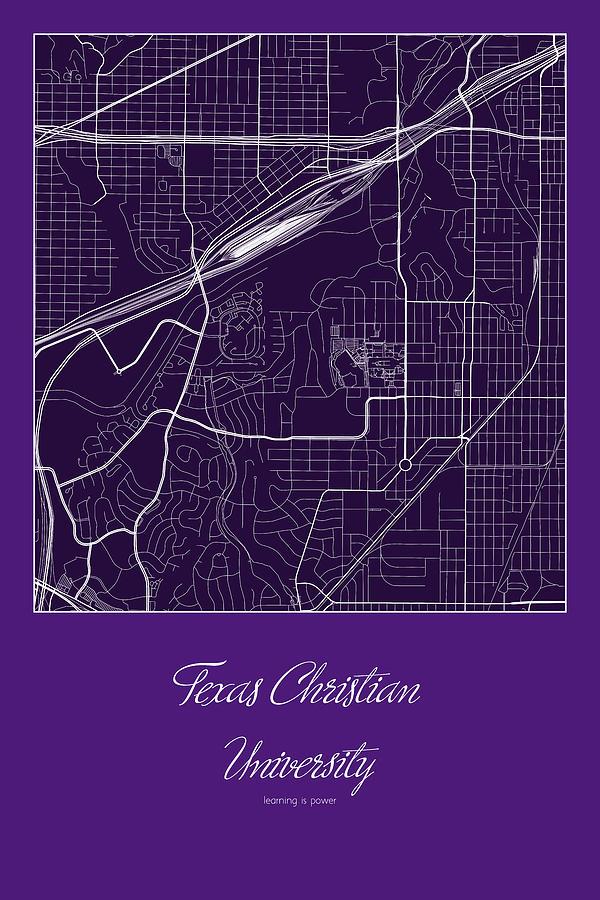 Tcu Street Map Texas Christian University Fort Worth Map Digital Art