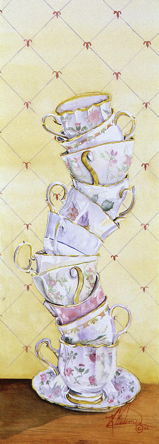Tea Cups Painting - Tea - Ter Totter by Leah Wiedemer