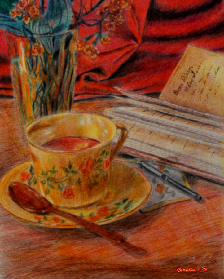 Cup Painting - Tea And Diary by Quwatha Valentine