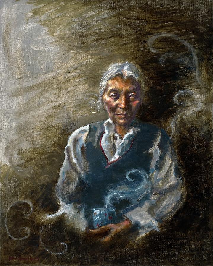 Woman Painting - Tea and Memories by Ellen Dreibelbis