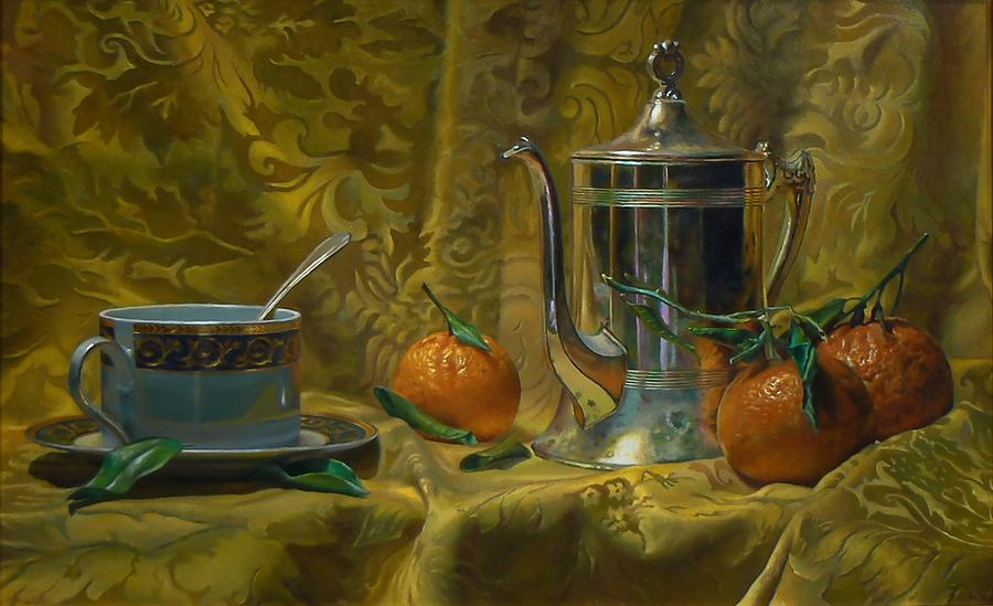 Tea And Oranges Painting by Jeffrey Hayes