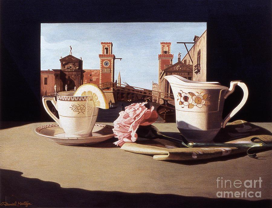 Painting Painting - Tea And Venetian Landscape by Daniel Montoya