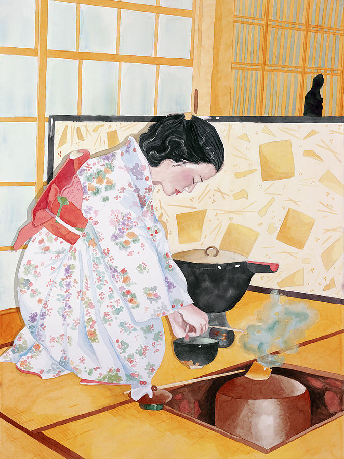 Kimono Painting - Tea Ceremony by Judy Swerlick