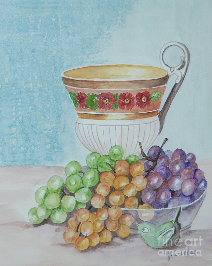 China Cup Painting - Tea Cup And Grapes by Janna Columbus