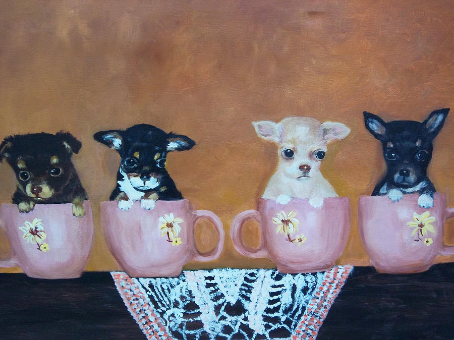 Dog Painting - Tea Cup Chihuahuas by Aleta Parks