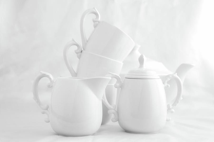 China Photograph - Tea For Three In White by Tom Mc Nemar