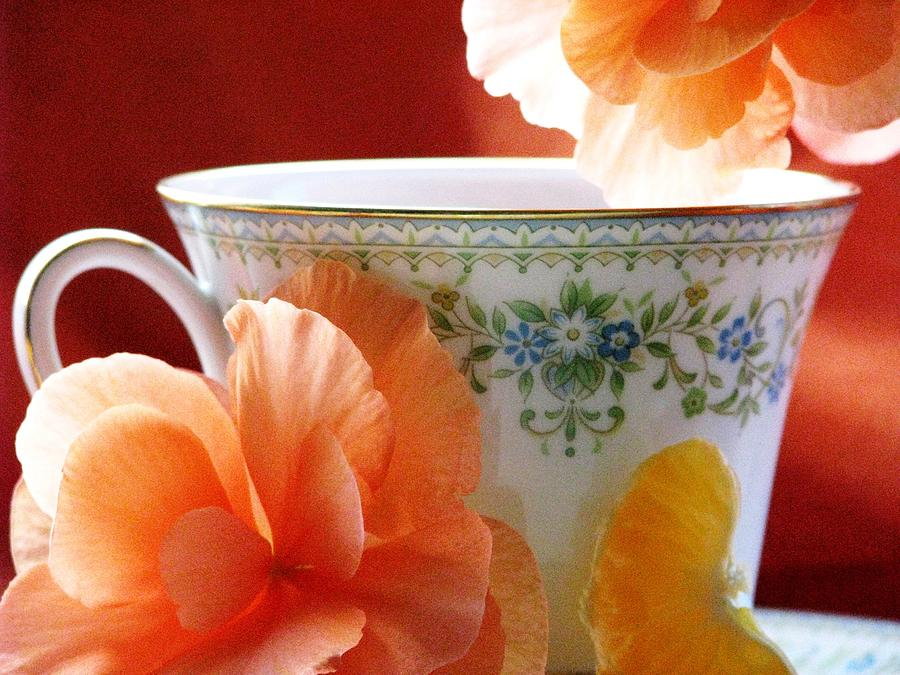 Tea Cups Photograph - Tea In The Garden by Angela Davies