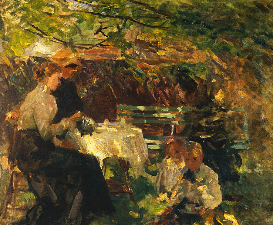 Shade Painting - Tea In The Garden, by Walter Frederick Osborne