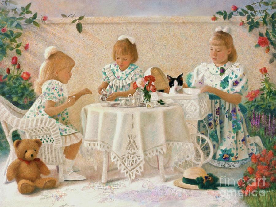 Sisters Pastel - Tea In The Rose Garden by Nancy Lee Moran