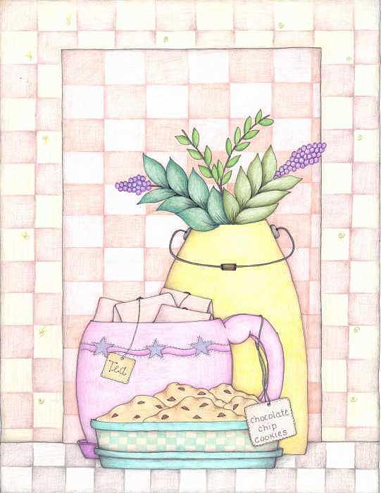 Tea Drawing - Tea N Cookies by Darla Stanton