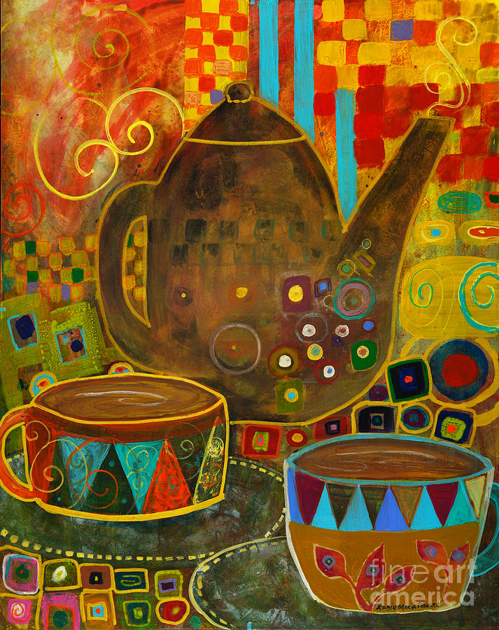 Klimt Painting - Tea Party With Klimt by Robin Maria Pedrero