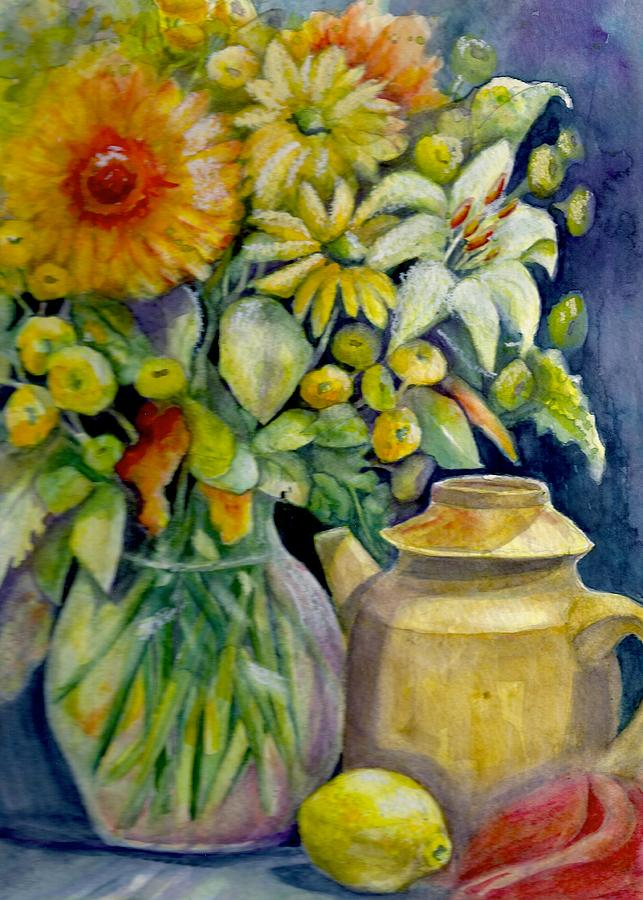 Floral Painting - Tea Pot And Flowers by KC Winters