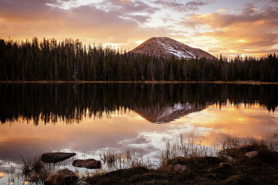 Mirror Lake Highway Photograph - Tea Pot Lake Sunset by Johnny Adolphson