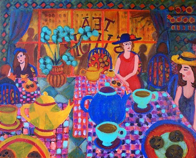 Colorful Painting - Tea Shop by Fran Steinmark