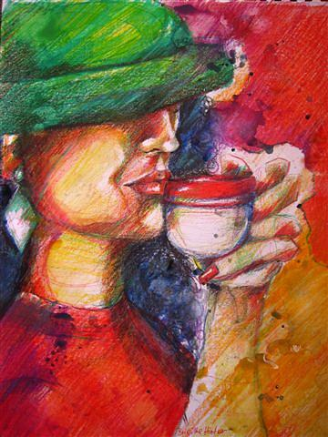 Tea-time Drawing by Brigitte Hintner