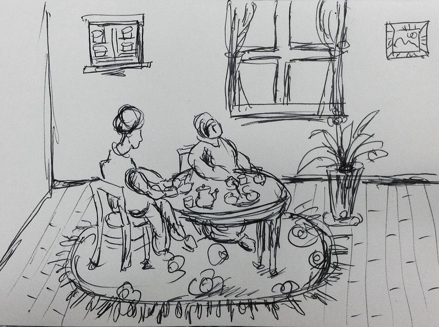 Woman Drawing - Tea Time by Hae Kim