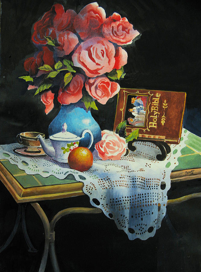 Stillife Painting - Tea Time by Robert Carver