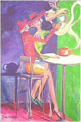 Figurative Painting - Tea With Genie by Dominic Fetherston