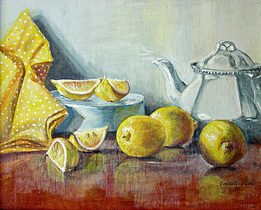 Tea Painting - Tea with Lemon by JoAnne Castelli-Castor