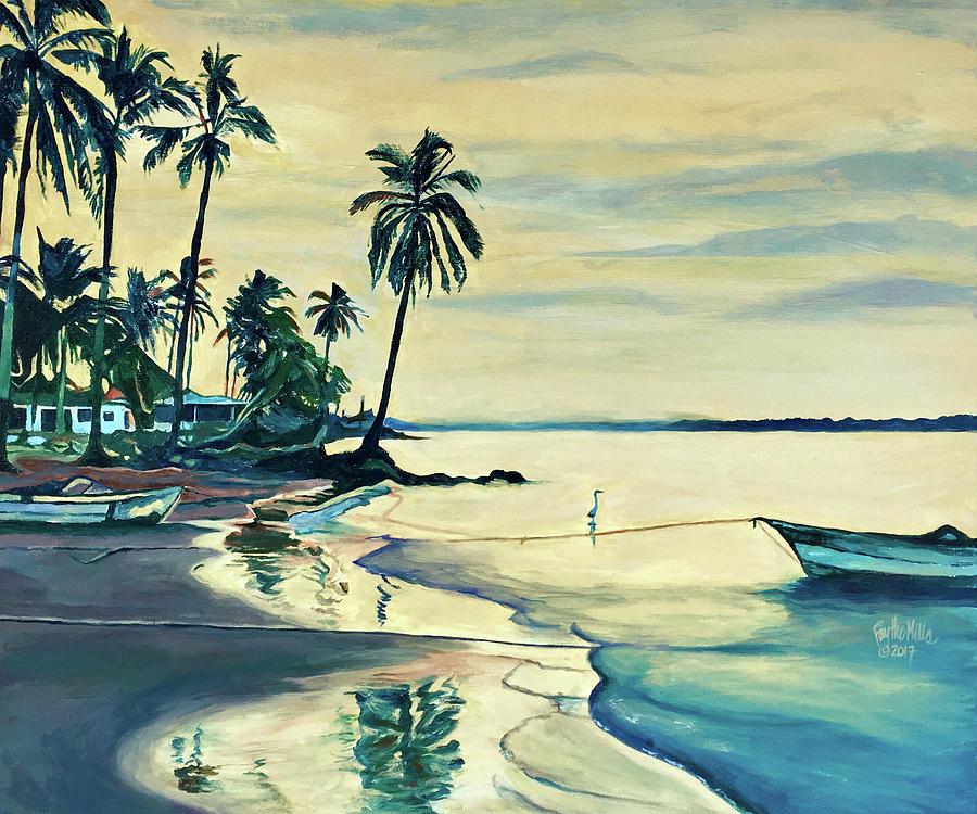 Sunrise Painting - Teacapan Sunrise Reflections by Faythe Mills