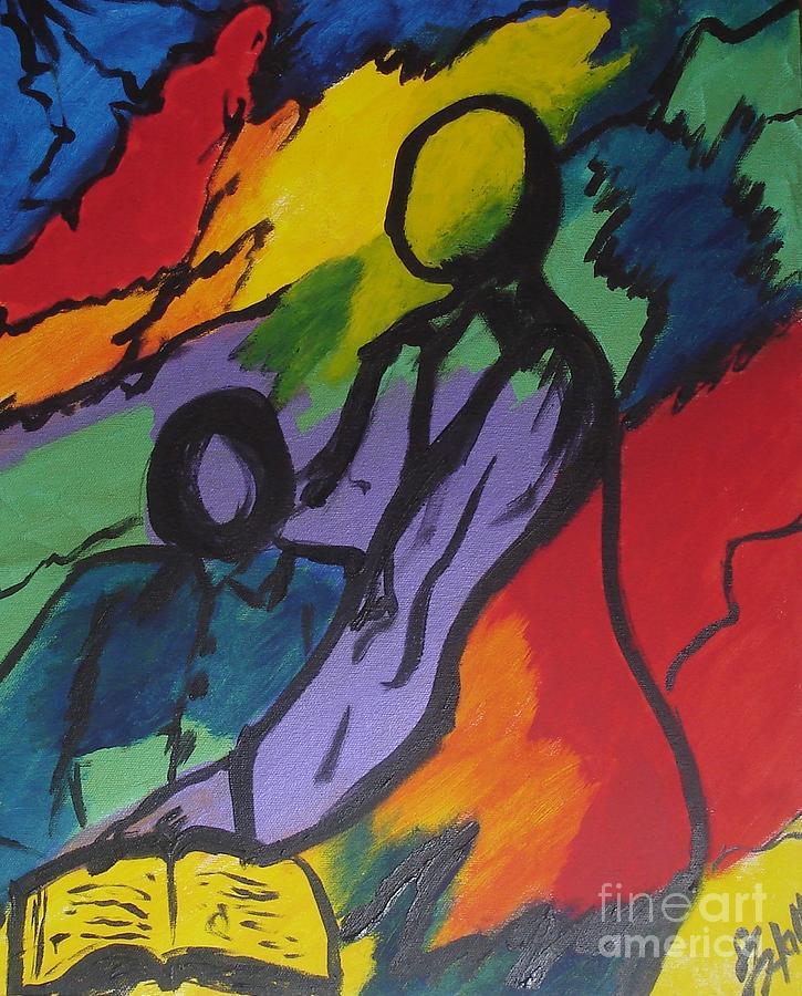 Teacher Painting - Teach by Sheila J Hall