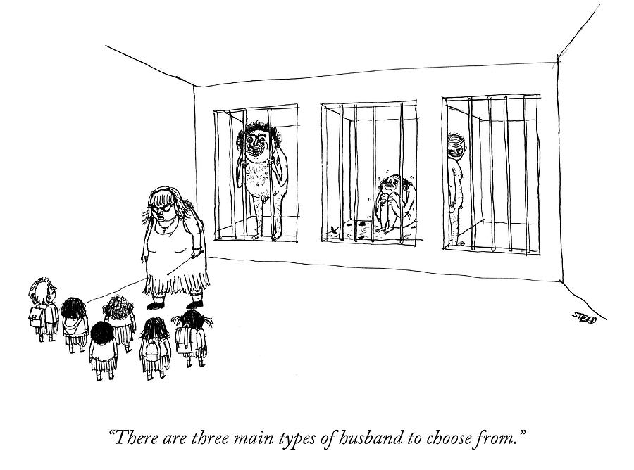 Teacher shows three men in cages to little girls. Drawing by Edward Steed