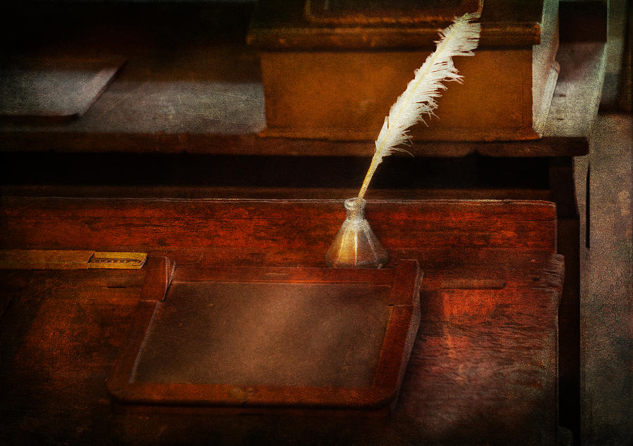 Hdr Photograph - Teacher - The Writing Desk by Mike Savad