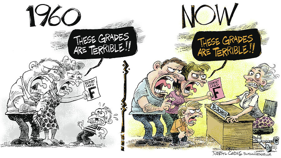 Teachers Drawing - Teachers Then And Now by Daryl Cagle