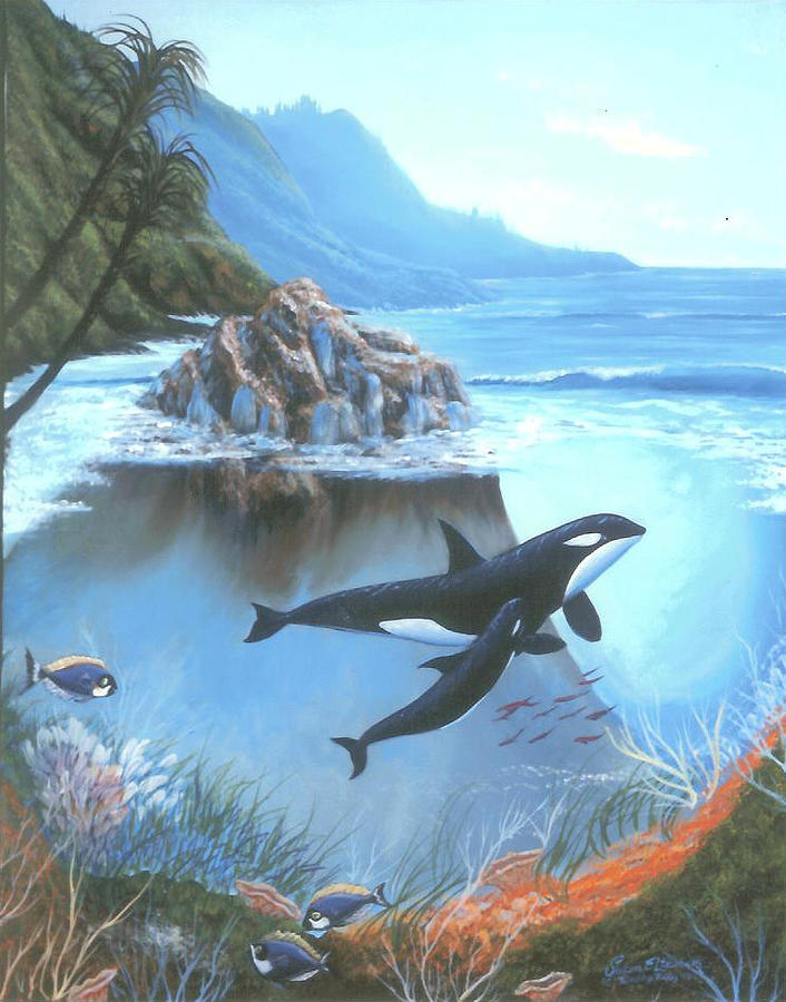 Orca Whales Painting - Teaching Baby Orca by Susan Elizabeth Wolding