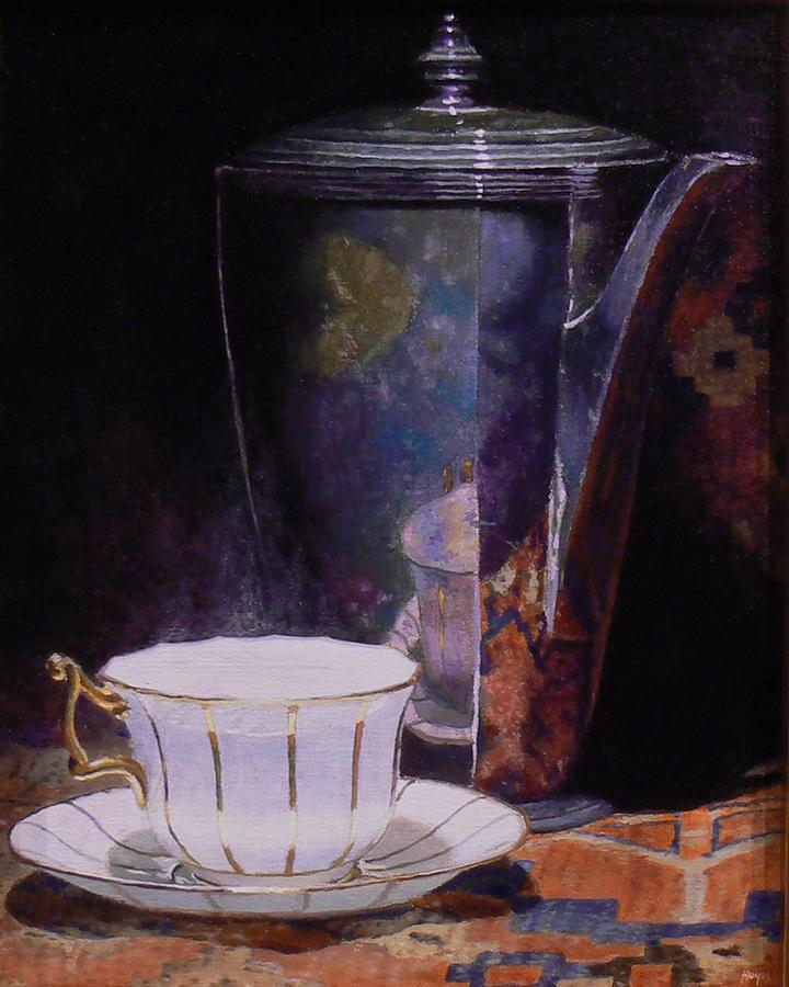 Teacup And Teapot On An Oriental Rug Painting by Jeffrey Hayes