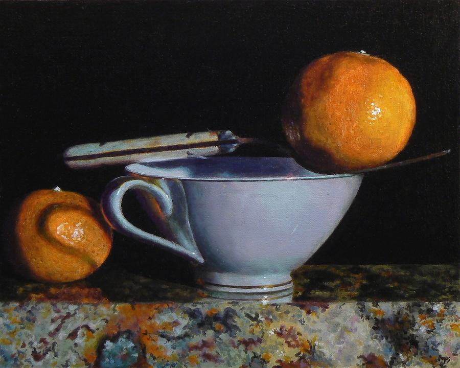 Teacup, Fork, And Two Oranges On Granite Painting by Jeffrey Hayes