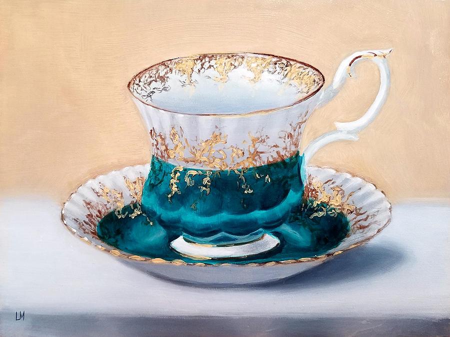 Oil Painting - Teacup by Linda Merchant